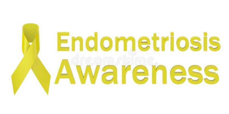 Conscientização amarela da endometriose da fita ilustração do vetor