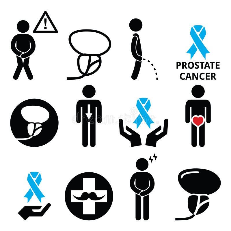 Conscientização do câncer da próstata, ícones da saúde dos homens ajustados ilustração royalty free