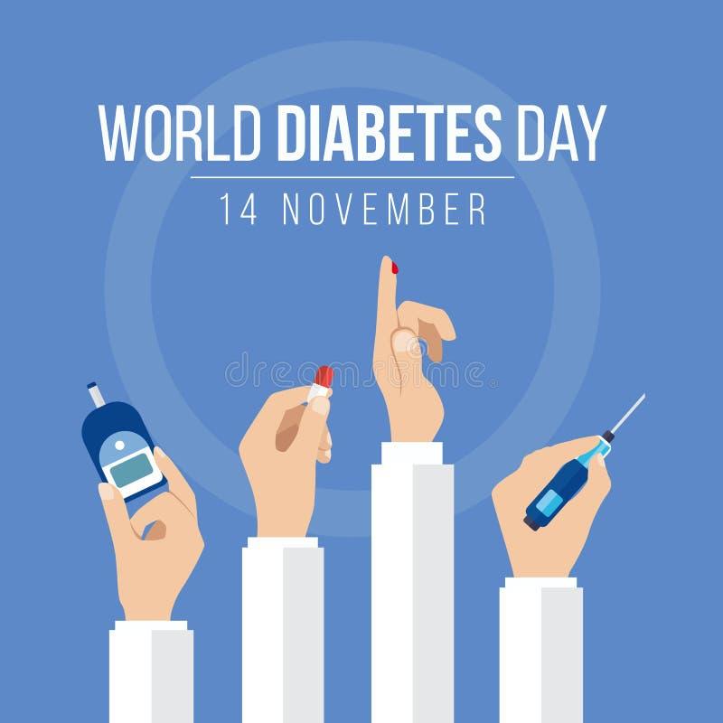 A conscientização do dia do diabetes do mundo com mãos guarda as medidas do medidor para a droga da posse da mão do nível do açúc ilustração do vetor