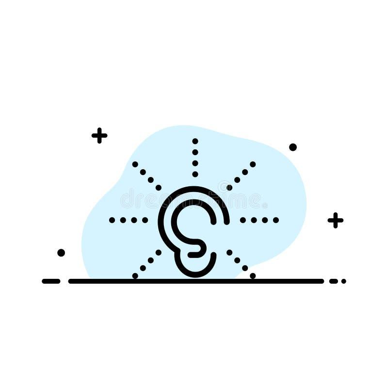 A conscientização, orelha, ouve-se, audição, escuta linha lisa molde enchido do negócio da bandeira do vetor do ícone ilustração royalty free