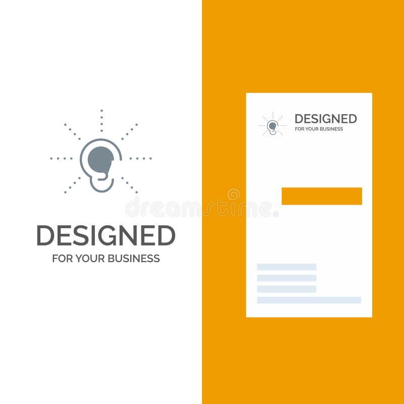 A conscientização, orelha, ouve-se, audição, escuta-se molde de Grey Logo Design e do cartão ilustração stock