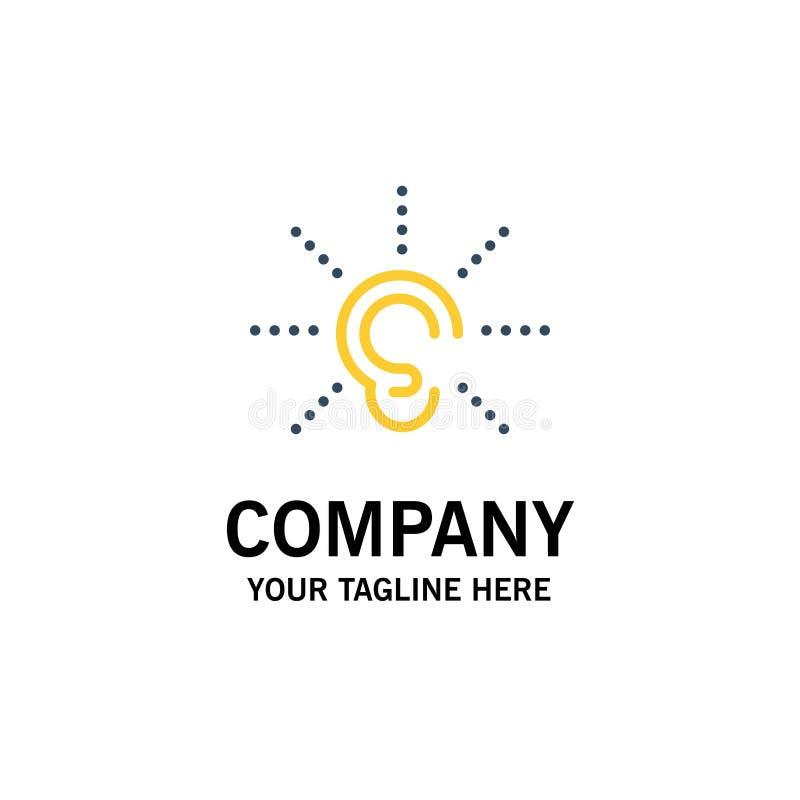 A conscientização, orelha, ouve-se, audição, escuta negócio Logo Template cor lisa ilustração stock