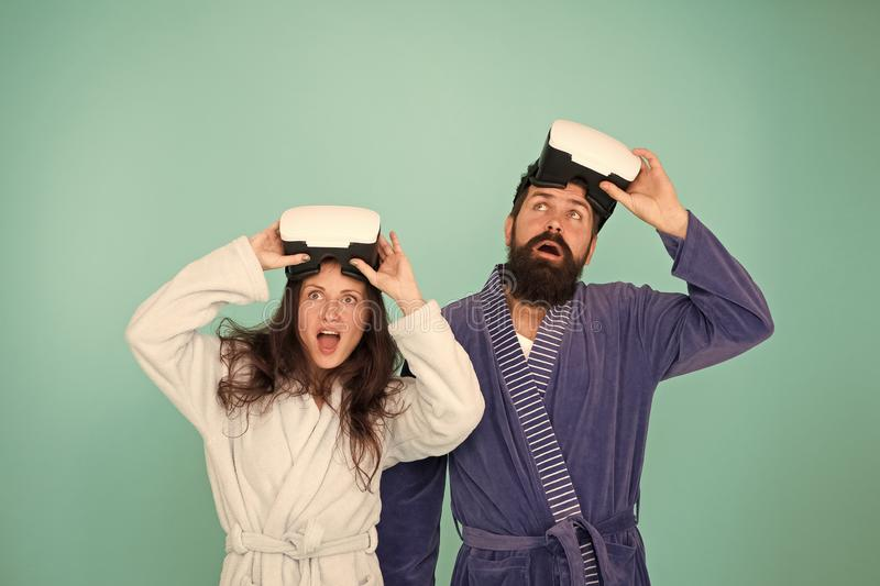 Conscious awakening. Return to reality. Man and woman explore vr. VR technology and future. VR communication. Exciting. Conscious awakening. Return to reality royalty free stock photos