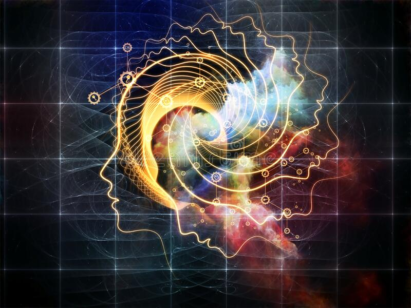 Consciousness Expanded. Out of Your Mind Science series. Spiral of human silhouette face line and abstract elements on the subject of consciousness, the mind royalty free illustration