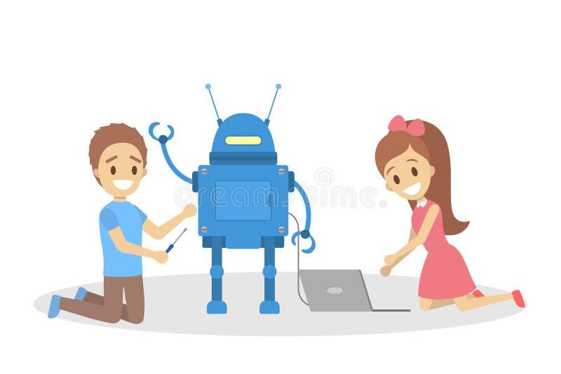 consctructing一起机器人玩具的小孩 库存例证