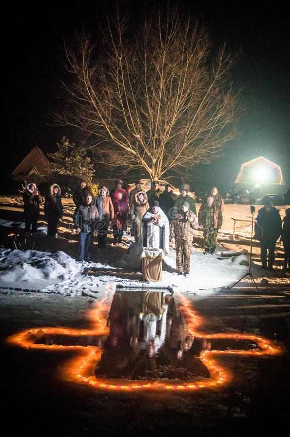 The consecration of the baptismal font night the Christian feast of Epiphany in the Kaluga region of Russia. In the Russian Orthodox Church has the tradition royalty free stock photography