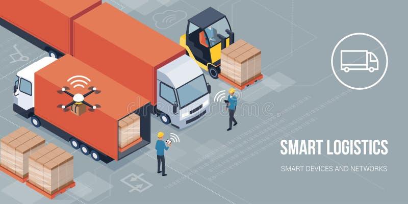 Consegna astuta del prodotto e di logistica illustrazione vettoriale
