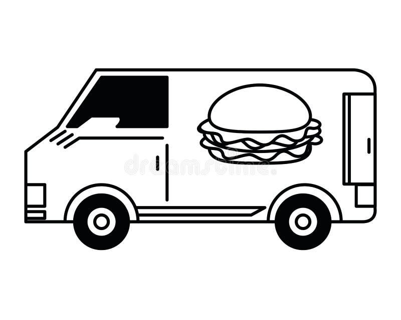 Consegna degli alimenti a rapida preparazione in bianco e nero illustrazione vettoriale