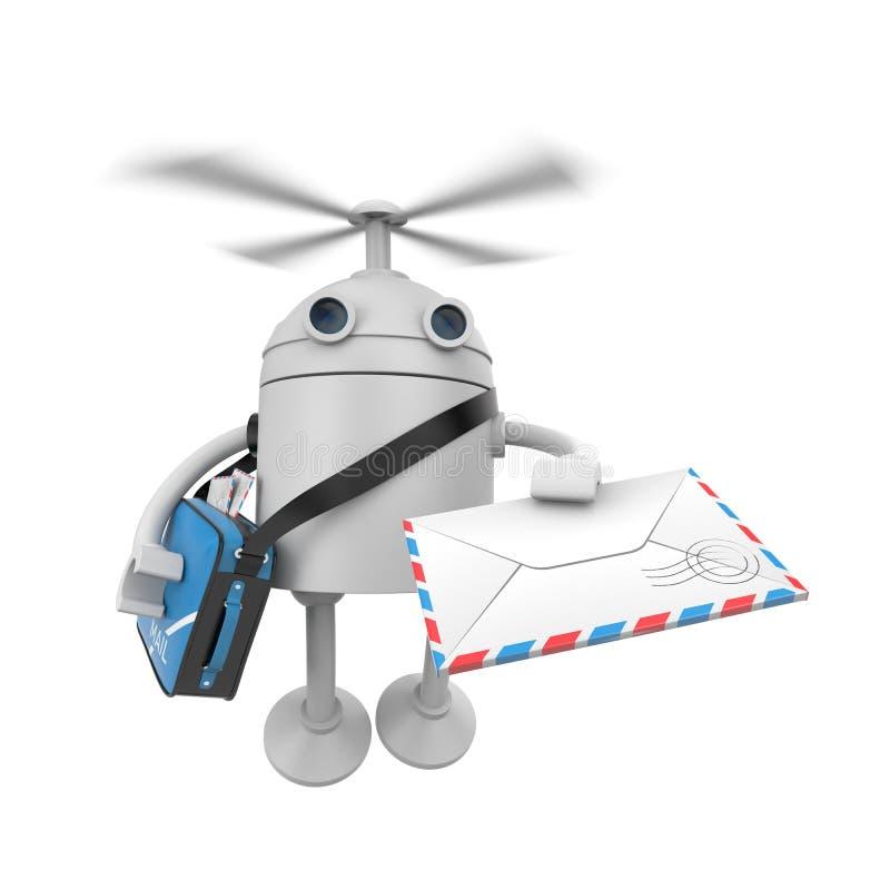 Consegna del fuco del robot delle lettere royalty illustrazione gratis