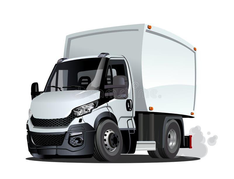 Consegna del fumetto o camion del carico isolato su fondo bianco illustrazione di stock