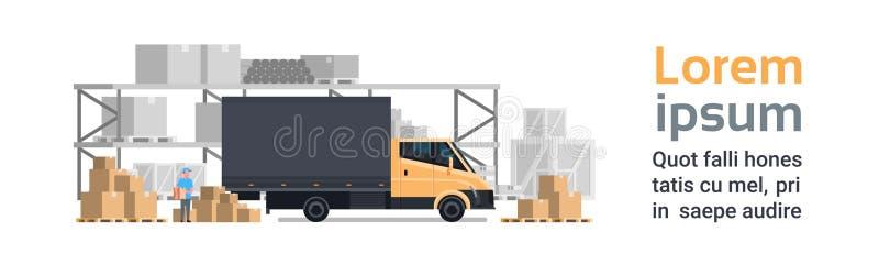 Consegna del magazzino, automobile del camion sopra la costruzione dei contenitori Insegna orizzontale di concetto del trasporto  illustrazione vettoriale