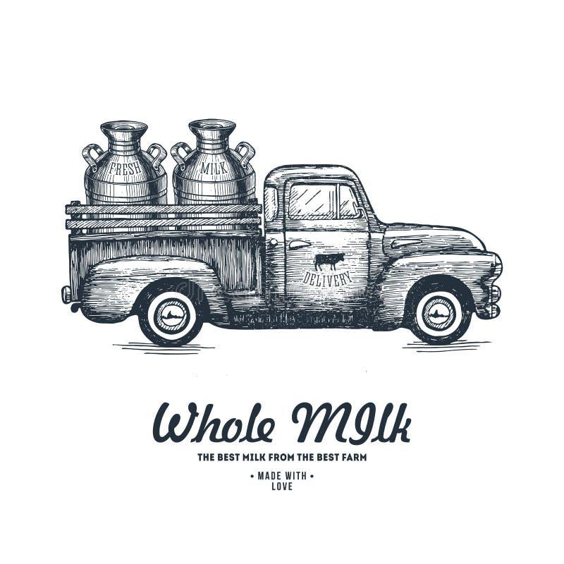 Consegna dell'azienda agricola del latte Illustrazione incisa camion Agricoltura d'annata Illustrazione di vettore illustrazione vettoriale