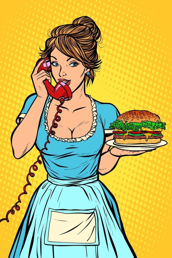 Consegna dell'hamburger Servizio degli esercizi alberghieri waitress illustrazione vettoriale
