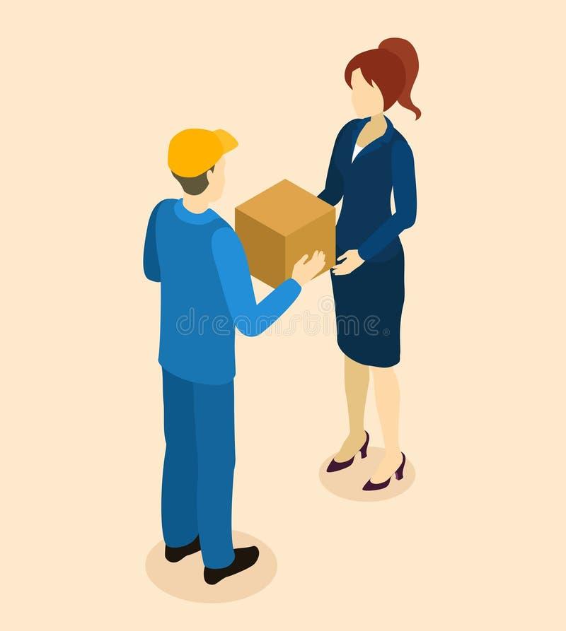 Consegna delle merci a progettazione isometrica del cliente illustrazione vettoriale