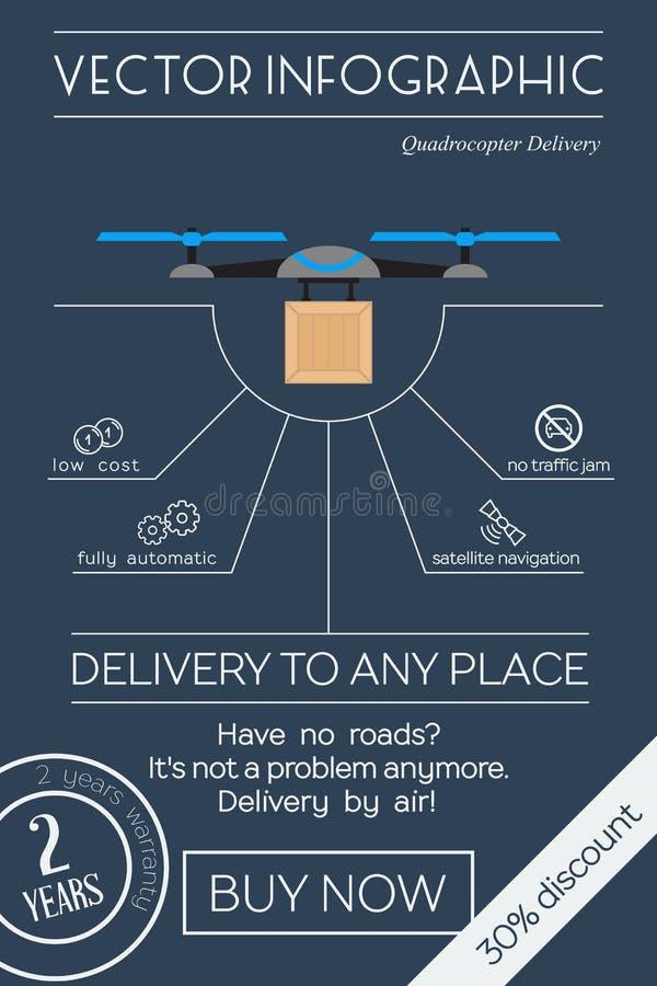 Consegna di Quadrocopter pianamente infographic illustrazione di stock