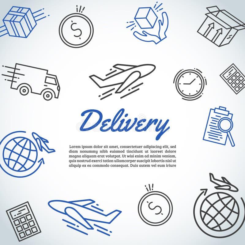 Consegna e fondo preciso della spedizione Elementi di trasporto e del corriere Insegna logistica di servizio Linea vettore di art illustrazione di stock