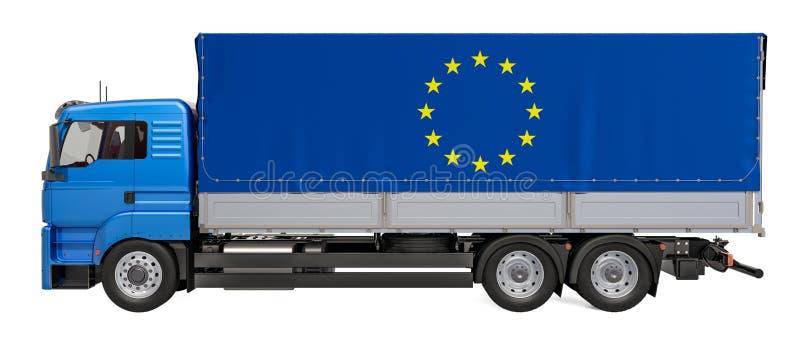 Consegna nel concetto di UE, del carico rappresentazione 3D illustrazione di stock
