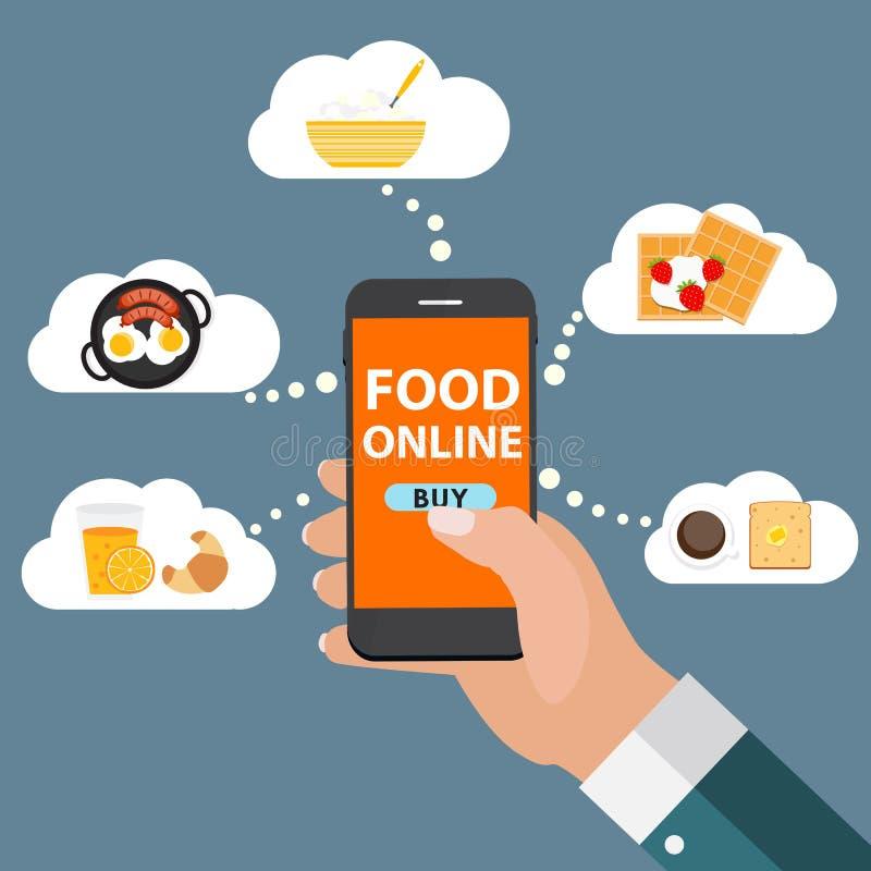 Consegna online dell'alimento di concetto mobile di Apps, acquisto, commercio elettronico i illustrazione di stock