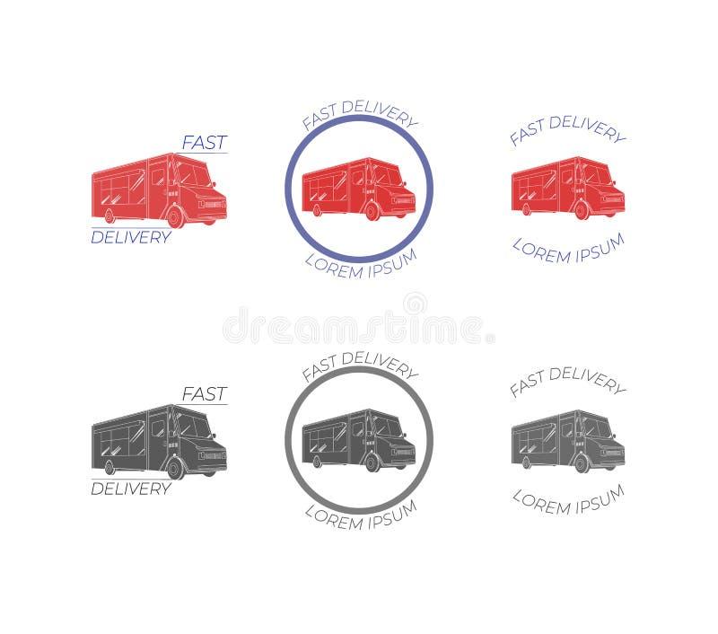 Consegna piana di trasporto di VETTORE, icone messe, Logo Templates Set del camion dell'alimento illustrazione di stock
