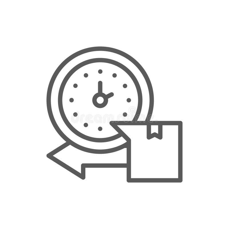 Consegna precisa, orologio con la linea icona della scatola illustrazione di stock