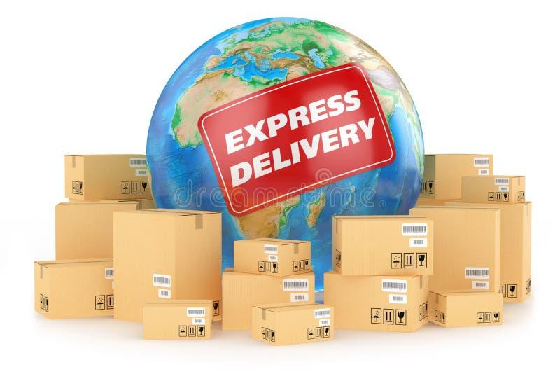 Consegna precisa universalmente. Concetto illustrazione di stock