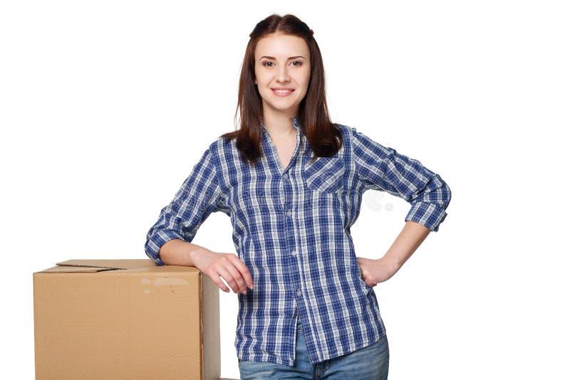 Consegna, rilocazione e concetto di disimballaggio immagini stock libere da diritti