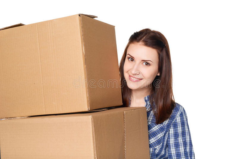 Consegna, rilocazione e concetto di disimballaggio immagine stock libera da diritti