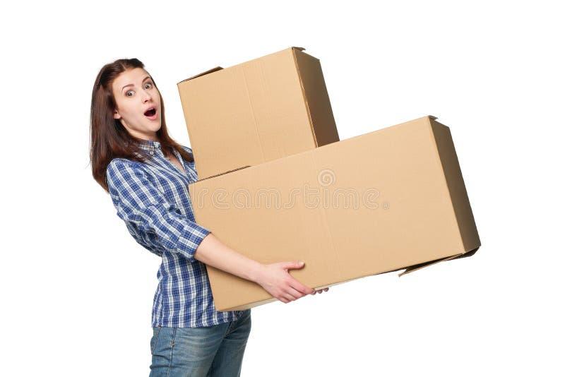 Consegna, rilocazione e concetto di disimballaggio fotografia stock