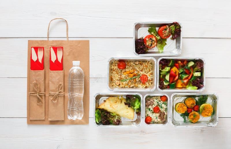 Consegna sana dell'alimento, pasti quotidiani vista superiore, spazio della copia immagini stock libere da diritti