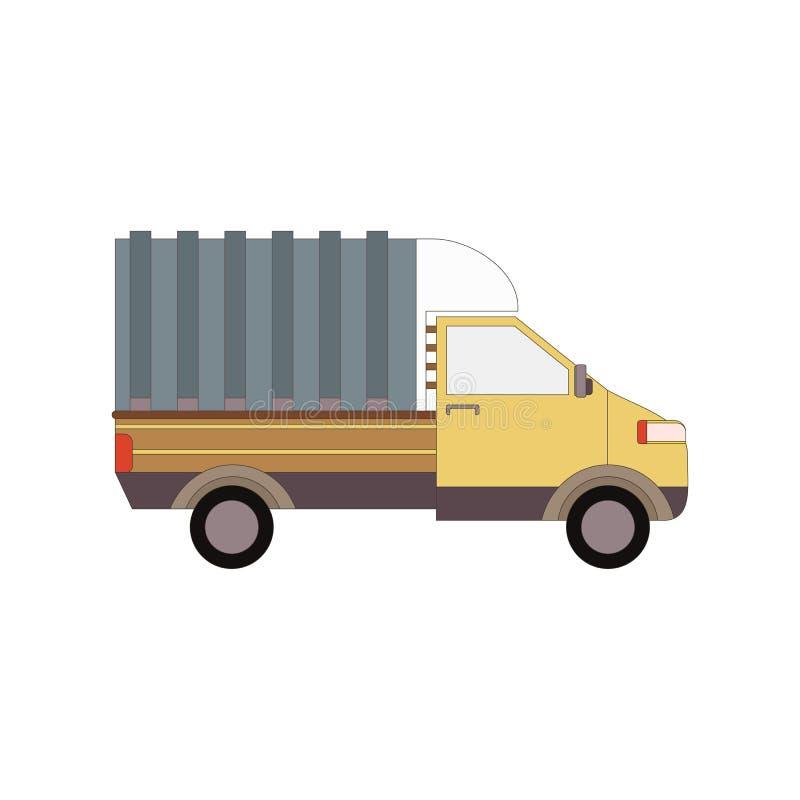 Consegna Van commerciale, camion del carico isolato su bianco Illustrazione di vettore illustrazione vettoriale
