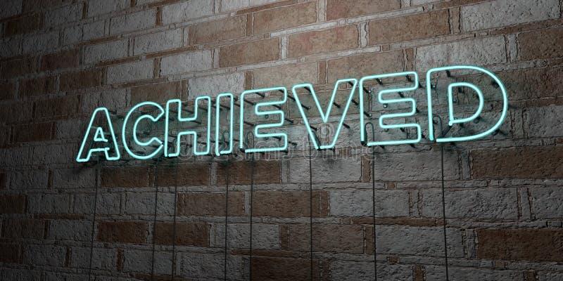 CONSEGUIDO - Sinal de néon de incandescência na parede da alvenaria - 3D rendeu a ilustração conservada em estoque livre dos dire ilustração royalty free