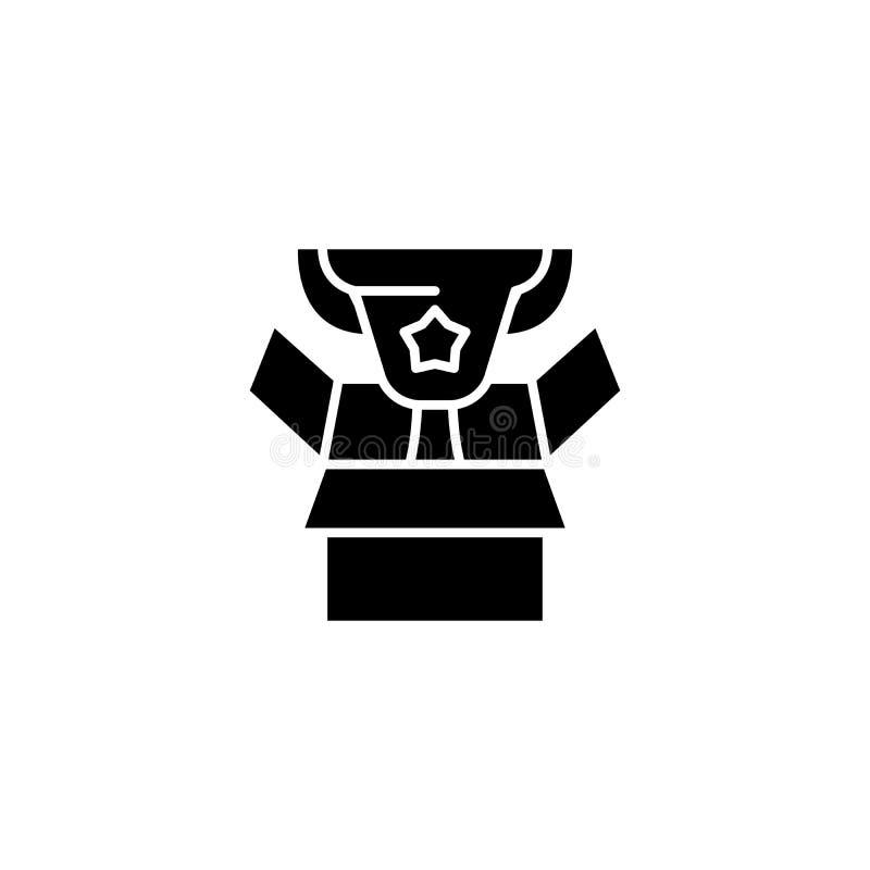 Conseguir un concepto del icono del negro de la recompensa Consiguiendo a una recompensa símbolo plano del vector, muestra, ejemp ilustración del vector