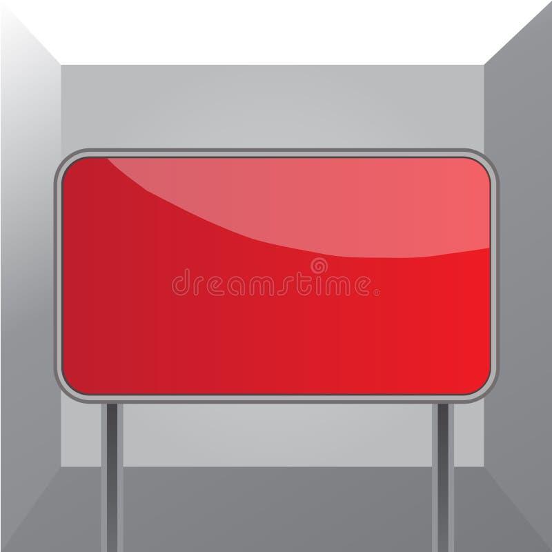 Conseil attaché au sol par deux poteaux métalliques Le rectangle coloré a formé le signe vide avec les frontières arrondies blanc illustration de vecteur