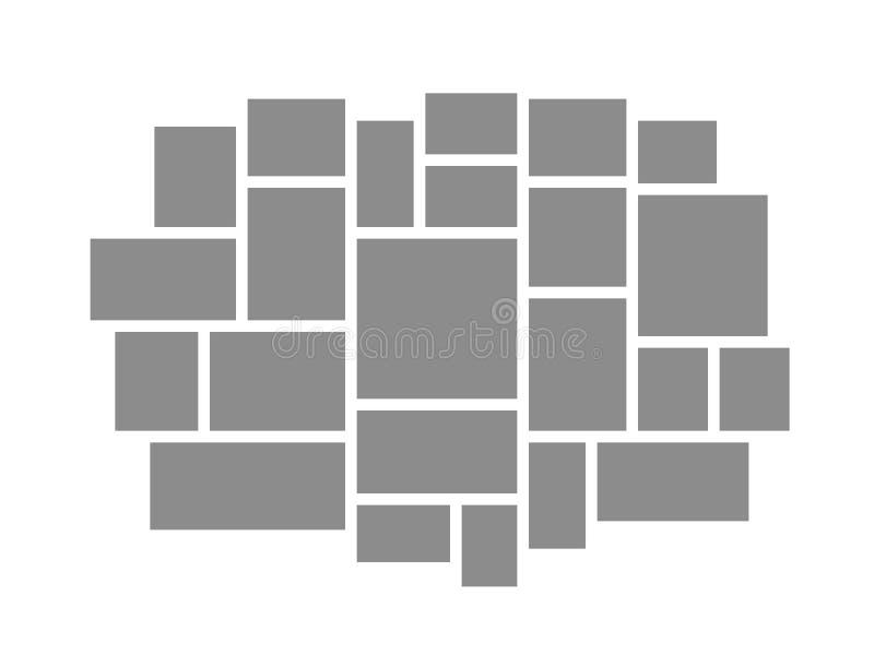 conseil d'humeur Les cadres de collage embarque des outils de photomontage d'affichage de palette de photos de cadre de mosa?que  illustration stock
