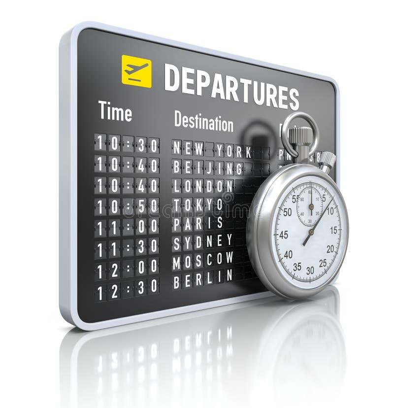 Conseil de départ avec le chronomètre illustration stock