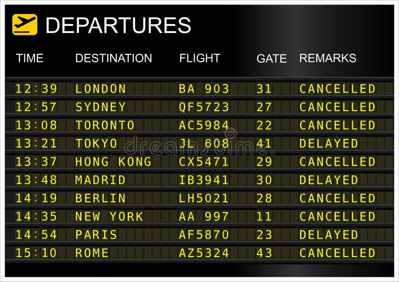 Conseil de départs de vols image stock