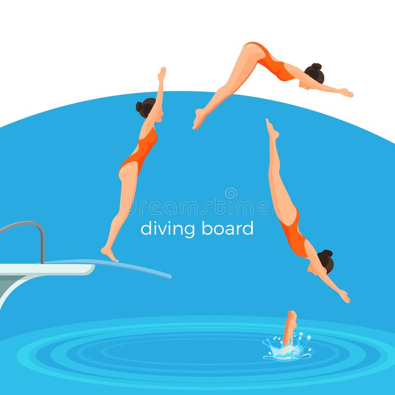 Conseil de plongée et nageur féminin dans le maillot de bain qui saute illustration libre de droits