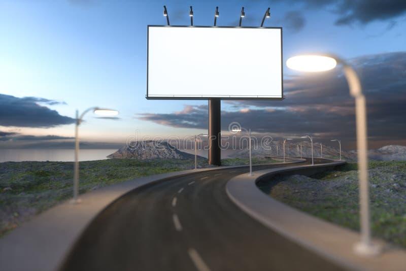 Conseil de publicité et route d'enroulement vides, rendu 3d images stock