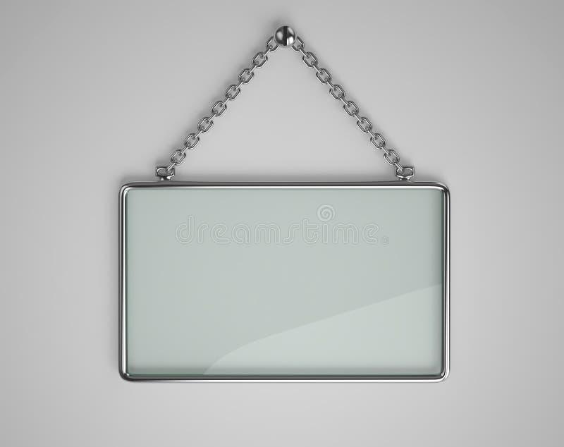 Conseil de verre avec le cadre en métal illustration stock