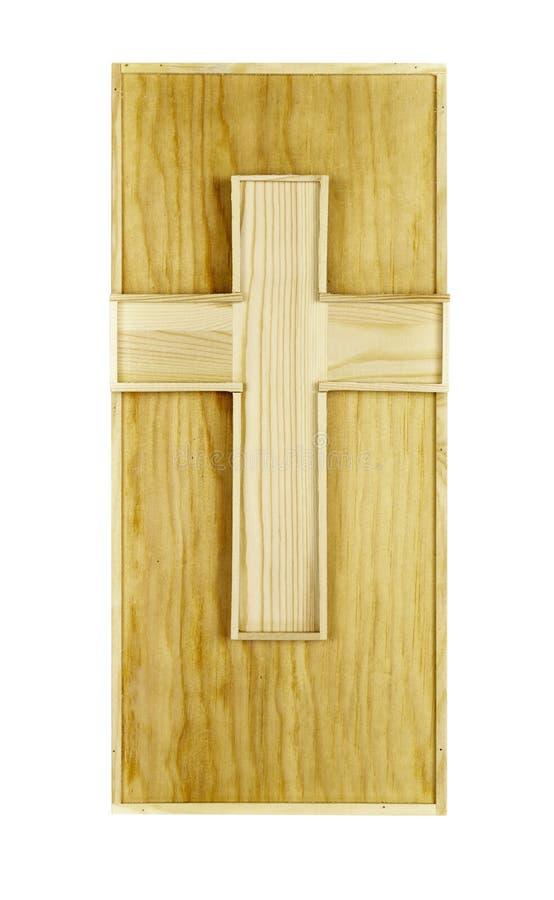Conseil en bois de forme rectangulaire avec la croix image stock