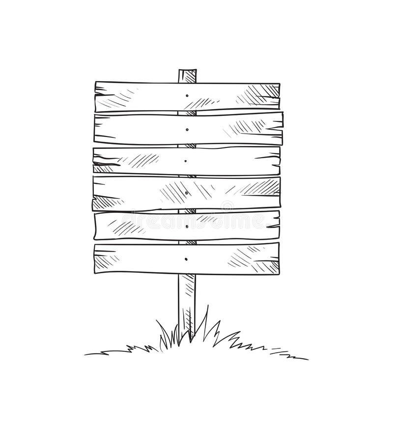 Conseil en bois sur une herbe illustration de vecteur