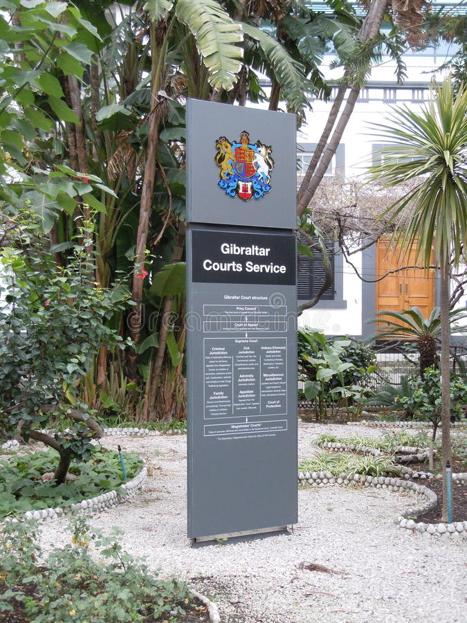 Conseil en dehors des cours du Gibraltar photos stock