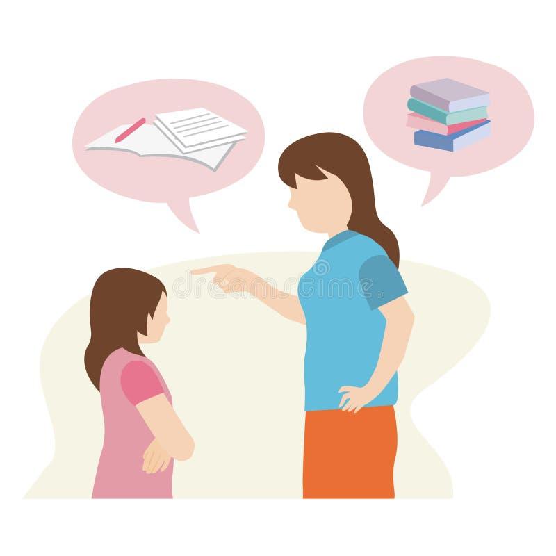 Conseil fâché de mère sa fille à étudier illustration libre de droits