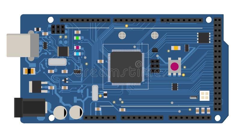 Conseil méga électronique de DIY avec un microcontrôleur illustration libre de droits