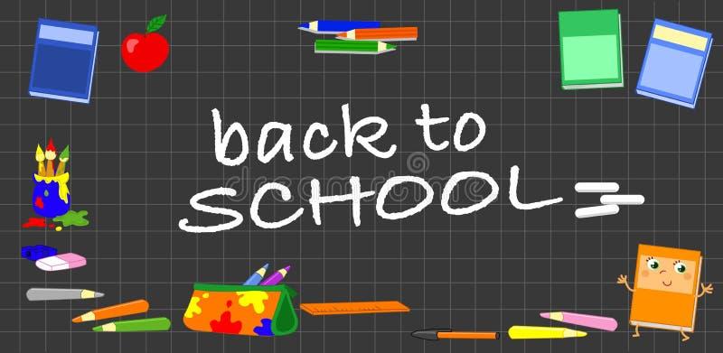 Conseil noir avec des objets d'école illustration stock