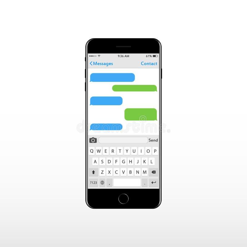 Conseil principal virtuel pour le téléphone portable avec l'endroit pour des zones de texte de causerie des textes Alphabet et no illustration stock