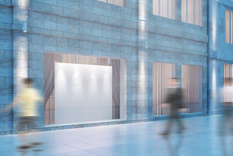 Conseil vide blanc dans la fenêtre du bâtiment et du peop mooving illustration stock