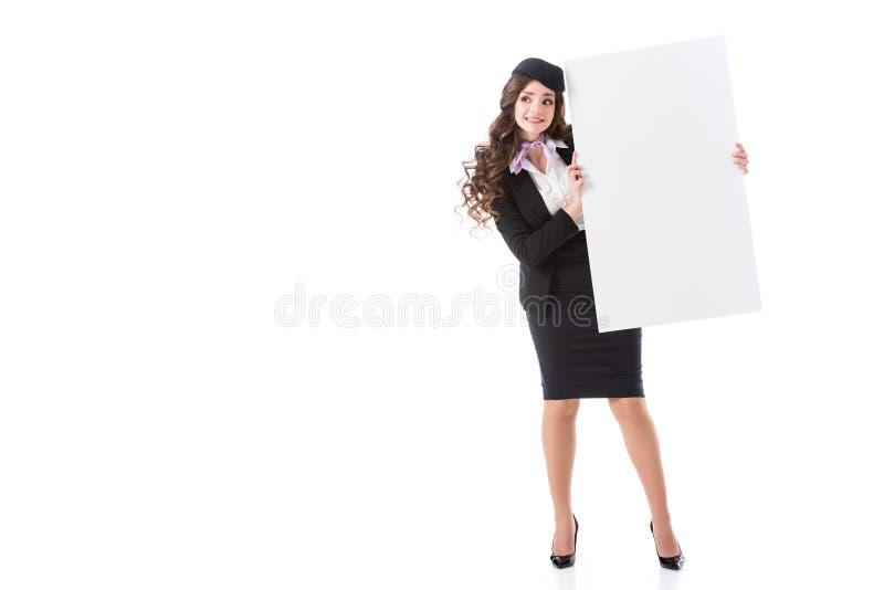 conseil vide d'apparence attrayante d'hôtesse photographie stock libre de droits