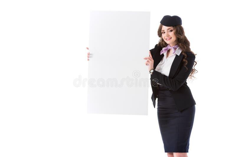 conseil vide de belle apparence d'hôtesse photos stock