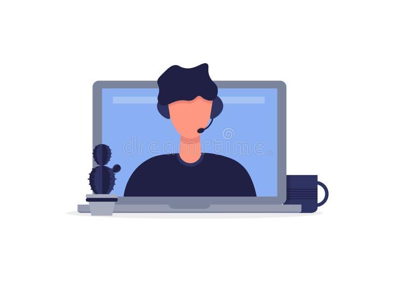 Conseiller en ligne, opérateur utilisant un casque illustration de vecteur